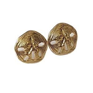 E1705 Minimal Sand Dollar Goldtone Stud Earrings